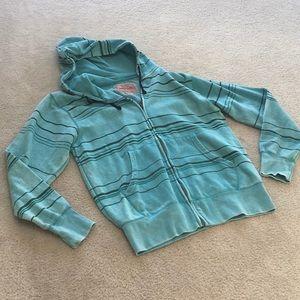 BROOKLYN CLOTH/AQUA STRIPE-FRONT ZIP HOODIE